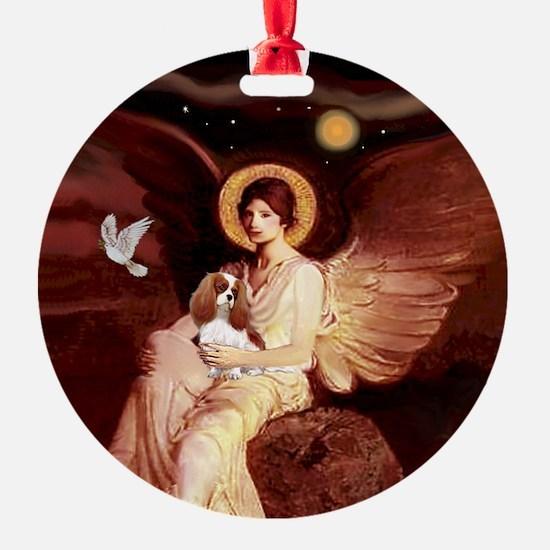 Seated Angel & Blenheim Cavalier Ornament (Round)