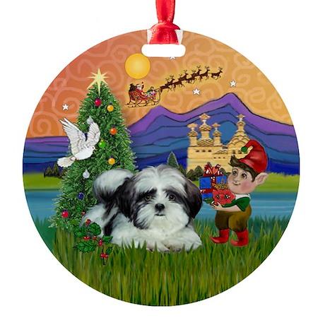 Shih Tzu Xmas Fantasy Ornament (Round)