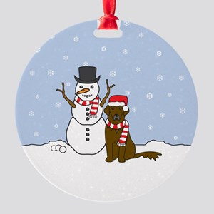 Liver Flat Coated Retriever Winter Round Ornament