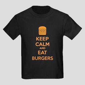 Keep calm and eat burgers Kids Dark T-Shirt