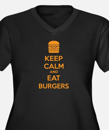Keep calm and eat burgers Women's Plus Size V-Neck