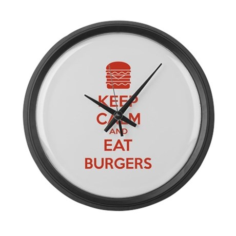Keep calm and eat burgers Large Wall Clock