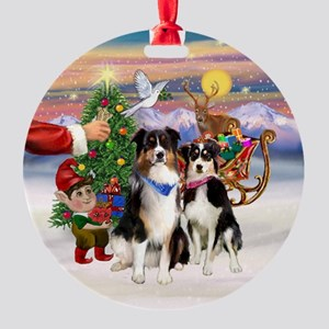 Treat for 2 Tri Aussies Ornament (Round)