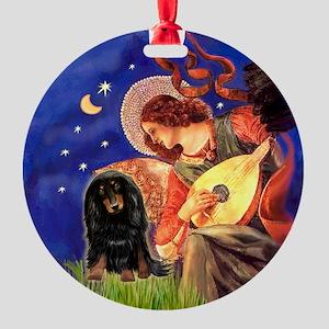 Mandolin Angel LH Doxie (BlkTan) Ornament (Round)
