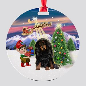 Santa Takes Off - LH Doxie (BT) Ornament (Round)