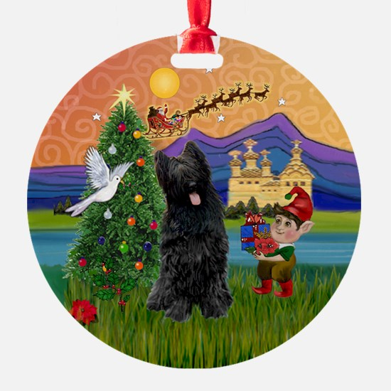 Xmas Fantasy & Black Briard Ornament (Round)