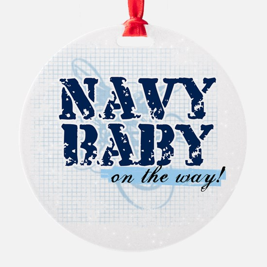Navy Baby On The Way (v2) Ornament (Round)