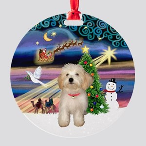 Xmas Magic & Havanese Puppy Ornament (Round)