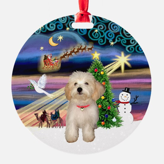 Xmas Magic & Havanese Puppy Ornament (Round)