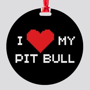 I Heart My Pit Bull Ornament (Round)