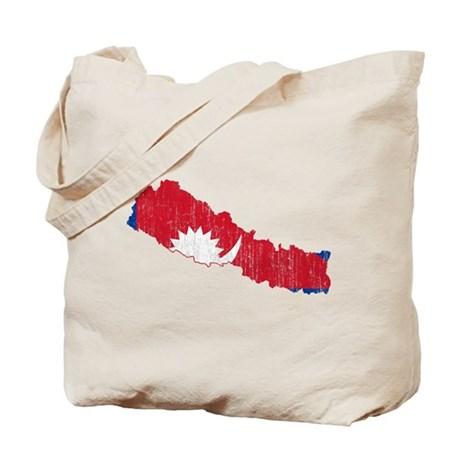 Nepal Flag And Map Tote Bag by FlagsAndMapsAged
