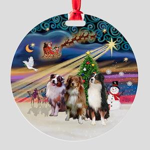 Xmas Magic - 3 Aussie Shepherds Ornament (Round)