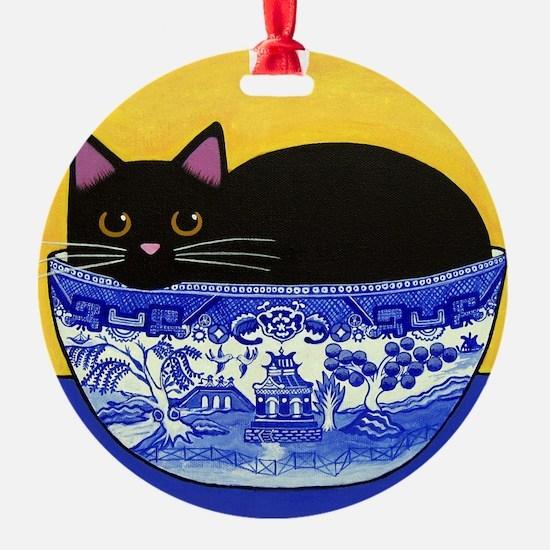 Black CAT Blue Willow Bowl Porcelain Ornament