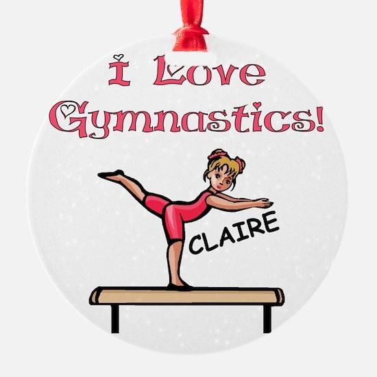I Love Gymnastics (Claire) Ornament (Round)