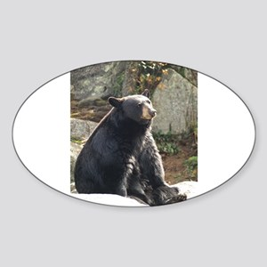 Black Bear Sitting Sticker (Oval)