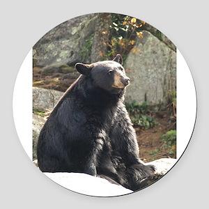 Black Bear Sitting Round Car Magnet