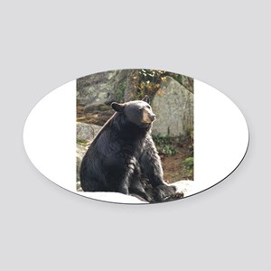 Black Bear Sitting Oval Car Magnet