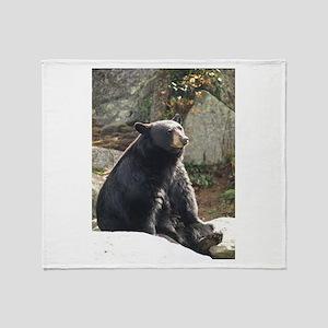 Black Bear Sitting Throw Blanket