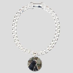 Black Bear Sitting Charm Bracelet, One Charm