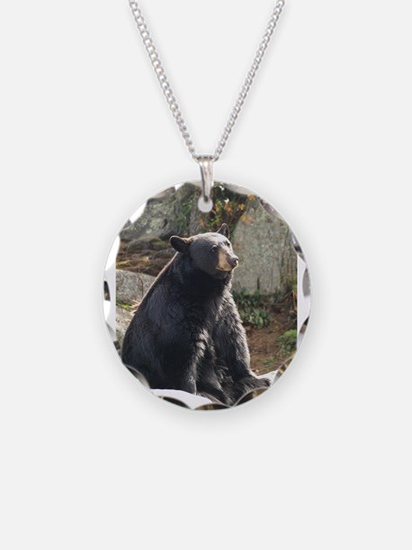 Black Bear Sitting Necklace Circle Charm
