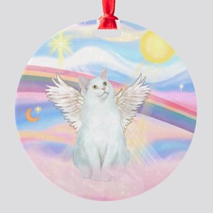 Clouds / (White) Cat Ornament (Round)