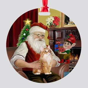 Santa's orange Ragdoll cat Ornament (Round)