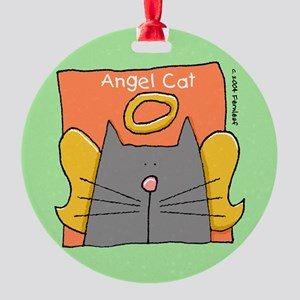 Gray Cat Angel Ornament (Round)