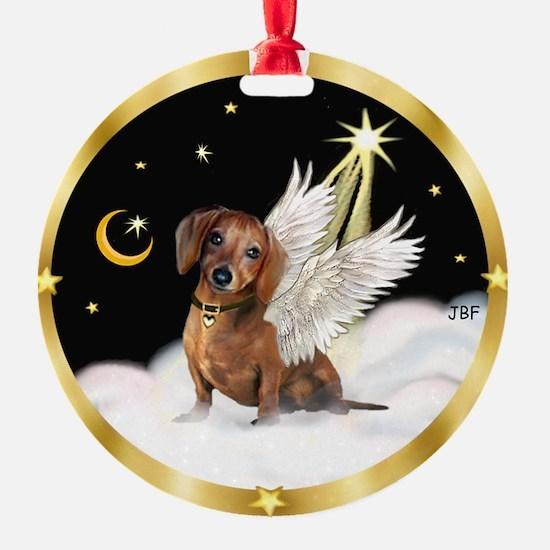 Night Sky - Angel Dachshund (brn) Ornament (Round)