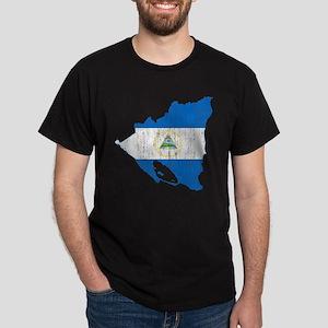 Nicaragua Flag And Map Dark T-Shirt