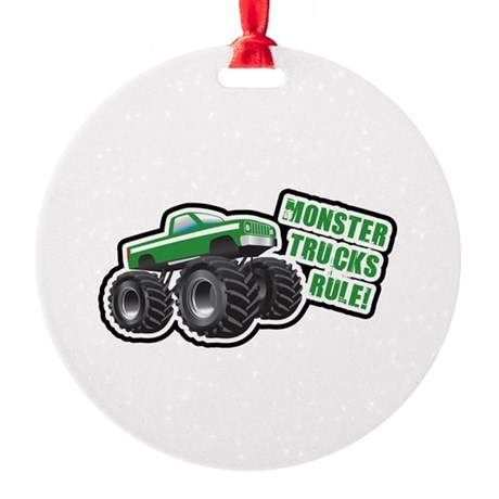 Green Monster Truck Ornament (Round)