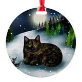 Tortoiseshell cat Round Ornament