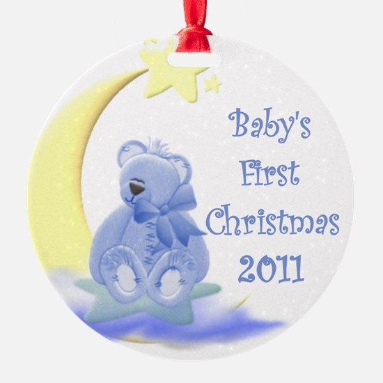 Blue Teddy Moon and Stars 2011 Ornament (Round)