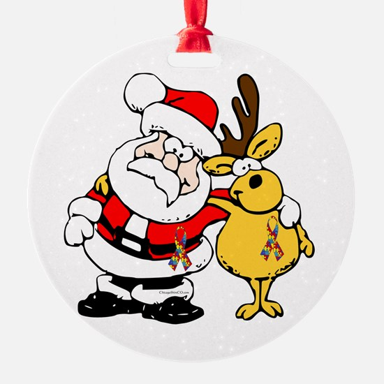 Autism Awareness Christmas design Ornament (Round)