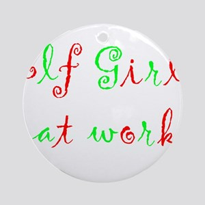 Elf Girl at work Ornament (Round)