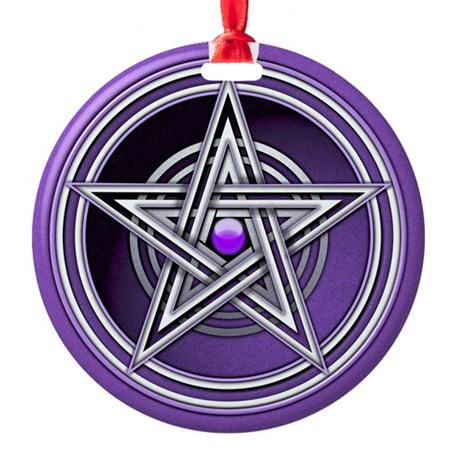 Purple Pentacle w/inlay Ornament (Round)