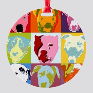 Pop Art Pit Bulls Ornament (Round)