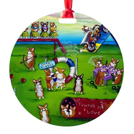 Agility Corgis Gone Wild II Ornament (Round)