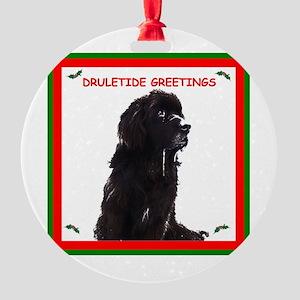 Newfy Drool Holiday dRuletide Greetings Ornament (