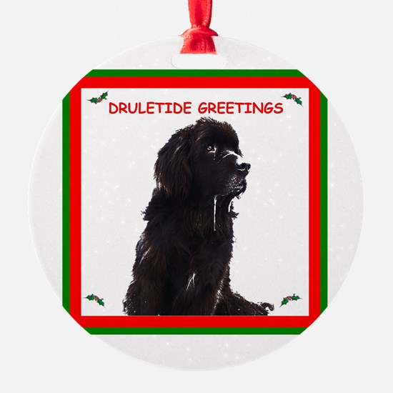 Newfy Drool Holiday dRuletide Greetings Ornament (