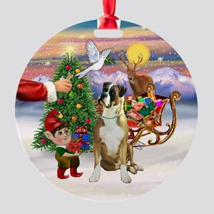 The Treat - Boxer (fawn, N) Ornament (Round)