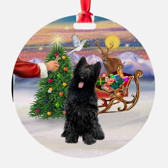 Santa's Treat for a Black Briard Ornament (Round)
