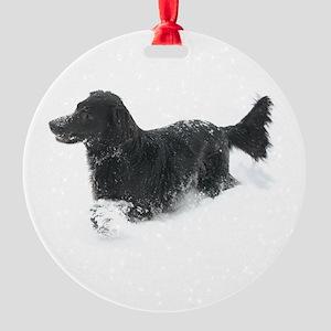 Ornament (Round) - Flat Coated Retriever
