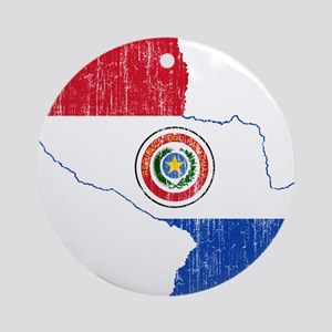 Paraguay Flag And Map Ornament (Round)