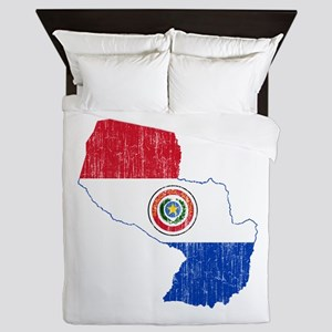 Paraguay Flag And Map Queen Duvet