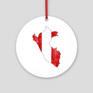 Peru Flag And Map Ornament (Round)