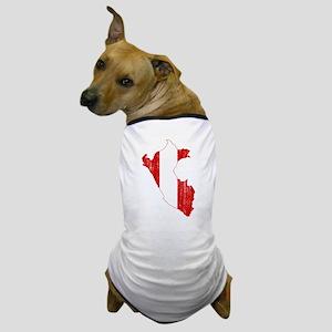 Peru Flag And Map Dog T-Shirt