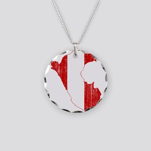 Peru Flag And Map Necklace Circle Charm