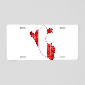 Peru Flag And Map Aluminum License Plate