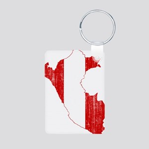 Peru Flag And Map Aluminum Photo Keychain