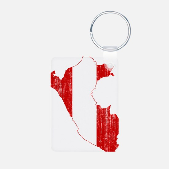 Peru Flag And Map Keychains